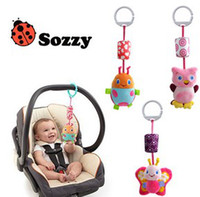 Wholesale Big Size Baby Bed Car Lovely Cartoon Decoartion Animal Windbells Ladybug Owl Butterfly Ring Wind bell Plush Toys Gifts B2253
