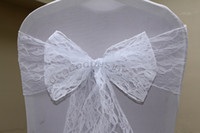 Wholesale 100pcs Top Quality white Lace Chair Sash For Wedding Event amp Party Decoration