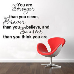 Wholesale You Are Stronger Than You Believe Inspiration Quote Wall Sticker Decor Art Decal