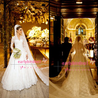 Wholesale 2014 Luxury Wedding Dresses Sexy V Neck High Neck Long Sleeve Lace Tulle Button Covered Cathedral Train Vintage A Line Bridal Gowns BO3590