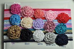 Rolled Flowers Satin Fabric Flowers Headband Matching Rosette Nylon Elastic Baby Girl Headband 60pcs lot QueenBaby Trial Order
