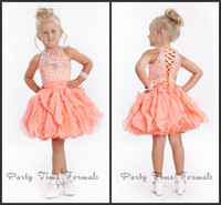 Wholesale Hot Sale Crystal Bead Halter Ruffle Knee Length Little Girl Pageant Dresses With Sash Cheap Flower Girl Dress Birthday Party Gown Chiffon