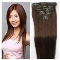 Wholesale 100 Human Clip on Hair g Brazilian Remy Straight Hair Medium Brown Women Lady Clip in Hair Extensions Long inch DHL