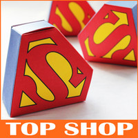 Wholesale Superman Logo Wedding Box Wedding Candy Box cm cm Cardboard Candy Bag Gift Boxes Personalized Wedding Favors And Gifts Candy Box