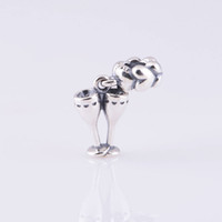 Wholesale Authentic ALE Sterling Silver Cheers Champagne Flute Celebration Dangle Bead Fits European Pandora Jewelry Charm Bracelets