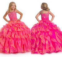 Reference Images Toddler Beads Square Organza Multilayered Mix Sweep-train Beaded Fresh Look Color Pageant Dress For Little Girls Glitz Long Zip 2014 Flower Girl Ball Gown