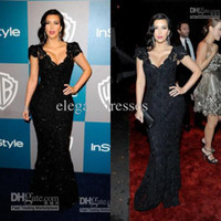 Reference Images Portrait Lace 2014 New Good Design New Fashion Kim Kardashian Sexiest Black Lace Celebrity Dress CBD059