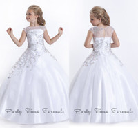 Wholesale White Flower Girl Dresses Jewel Sweep train Glitz Girl s Pageant Dress with Cap Sleeves Beaded Long Formal Kids Prom Gown Soft Tulle