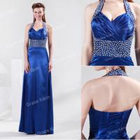 New Fashion Halter Design Beaded Sequins Evening Dresses Ruc...
