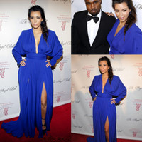 Reference Images V-Neck Chiffon 2014 Kim Kardashian Sexy V Neck Long Sleeves Royal Blue High Evening Celebrity Dresses Chiffon Long Party Pageant Gowns