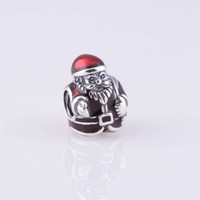 Wholesale Authentic ALE Sterling Silver St Nick Santa Claus Christmas Bead amp Red and Black Enamel Fits European Pandora Jewelry Charm Bracelets