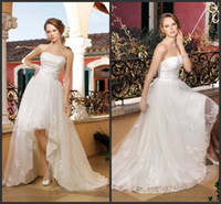 Wholesale Custom Made Spring Fashion Hi Low Crystal Belt A line Lace Appliques Church Wedding Dresses With Chapel Train Bridal Gowns Kelly36