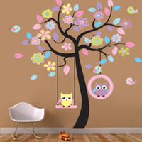 Peel & Stick PVC Animal Large Owl Bird Tree Swing Wall Sticker PVC Decal for Kid Nursery Room Amazing