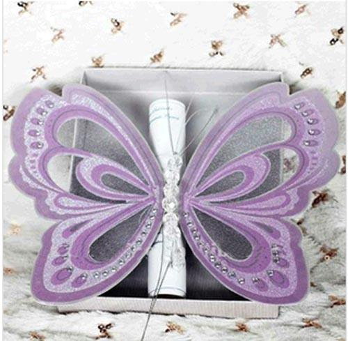 asian handmade purple butterfly wedding invitations blank cards, Wedding invitations