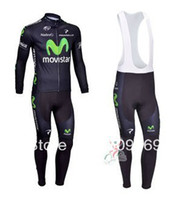 Wholesale 2014 new cycling jersey shop movistar team clothing long sleeve and Strap trousers sport wear custom cycling jerseys canada C00L3