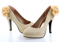 Wholesale Gold shoes with flower club shoes wedding shoes dress shoes party shoes
