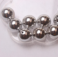Wholesale Hot Sale mm Luster Silver Round Ball Acrylic UV Plating Beads For Chunky Necklace Environmental bag A08