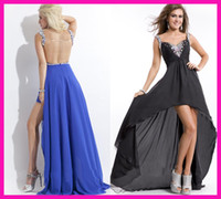 Wholesale Cheap Black Blue Backless Crystal Short Front Long Back Graduation Girls Prom Dresses E4864