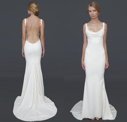 Wholesale 2014 Hot Recommend Barcelona gown gorgeous cowl neckline Open back Sexy Wedding Dresses Affordable Bridal Gowns under