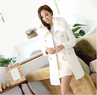 Wholesale Korean Spring and Autumn new fashion women slim lapel double breasted woolen solid beige black brown coat ewwt170