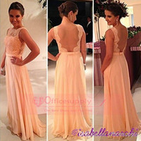 Wholesale Pink Sheer Lace Chiffon A line Evening dresses pageant gowns with High Neck and Open Back BO3396