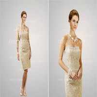 Wholesale 2014 Hot Sale Sexy Strapless Mother of the Bride Dresses Lace Beads Knee Length Prom Gown Long Sleeves With Bolero Jacket D21