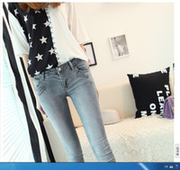 Wholesale New Arrival Skinny Straight Women s Middle Jeans Character Girl Casual Fashion Korean Style Sky Blue Women s Middle Jeans LXR12