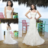 A-Line Reference Images Spaghetti 2014 New Arrival A-Line Wedding Dresses Bridal Gowns With Lace Sheer Straps Covered Button Chapel Train 3770