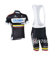 Wholesale 2014 new style COLOMBIA cycling suit Short Sleeve Cycling Jersey bib short Outdoor bike clothing Set retro cycling jerseys uk C00S