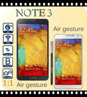 Wholesale original size Note N9006 with Air Gesture MTK6572 Dual Core android4 phone inch IPS Screen GHz G GPS fast shipping flip case