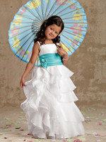 Cheap 2014 New Style Organza Ruffle Embellised with Satin Sash Ball Gown Sweety Pretty Girls Pageant Dress Flower girl Dress G003