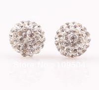 Wholesale 10mm Flat Back Half Ball Shamballa Earrings Stud Clay CZ Crystal Disco Ball Studs Earring ZE07