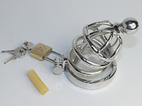 Chastity Cage male chastity device super small - Latest Design Super Small Male stainless steel Cock Cage Chastity Art Device with catheter Cock ring BDSM Sex Stoys
