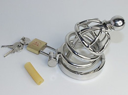 Wholesale Latest Design Super Small Male stainless steel Cock Cage Chastity Art Device with catheter Cock ring BDSM Sex Stoys