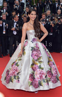Reference Images Floor-Length Sheath/Column 2014 Pageant Dresses Sonam Kapoor Nice Dress in Cannes Film Festival Evening Dresses Backless & Print Flowers Satin Celebrity Dresses BO3084