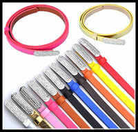 Wholesale Diamond belt powder flash belt multicolor waistband ladies leather belt DHL free