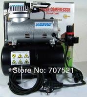 Wholesale 220V AC mini piston air compressor pump noiseless silent Portable Airbrush Compressor tatoo make up with air tank Hseng AS186