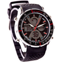 Complete Calendar Analog-Digital Rubber AUDI ots led waterproof dual display sports electronic watch male watch