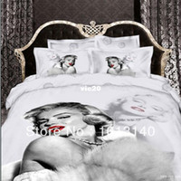 Adult Twill 100% Cotton Marilyn Monroe 3d oil painting 4pc bedding set bed sheet Linen cotton bedspread sets Duvet quilt Comforter cover King queen size