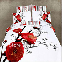 Adult Twill 100% Cotton brand new red Flower wedding 4pc bedding set 3d Luxury oil painting Duvet comforter quilt cover bed Linen sets queen king size