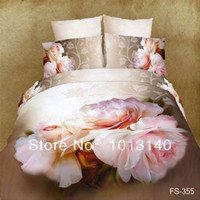 Adult Twill 100% Cotton big pink red flower oil painting bedding set 3d 4pcs bedsheets cotton duvet quilt cover luxury bed linen sets king queen size