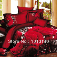 Adult Twill 100% Cotton unique wedding bedclothes cotton red Rose 4pc bedding set 3d Full king queen bed sheet Linen Duvet Comforter Quilt cover sets