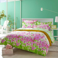 Adult Twill 100% Cotton green pink spring style 4pcs bedding set brand new queen size Duvet quilt covers bedspread pillowcase flat bedsheets 100 Cotton