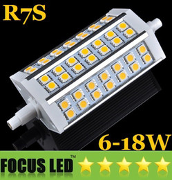 R7s led 118mm dimmable en Ligne-Ultra Bright R7S Dimmable LED 6W 9W 12W 15W 18W Lumières 78mm 118mm 189mm SMD 5050 Chaud / Cool White Remplacer Projecteur lampe halogène 110-240V