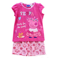 Summer peppa pig clothing - Baby cute Pajamas sets Peppa pig Embroidery kid girl sleepwear piece clothing sets
