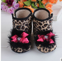 Winter Snow Boots Mid-Calf leopard Soft bottom shoes non-slip comfortable toddler baby warm antiskid ugg boots 12pcs