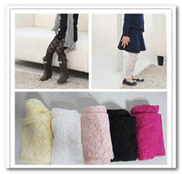 Wholesale Candy Rose Clothing Wholesale - Children full lace leggings girls flowers Candy colors leggings kids clothing white black pink rose red yellow 9piece lot 2551