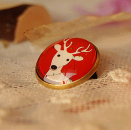 Red Tone White Deer Pins for Kids Christmas Brooches Animal Pins 20mm xz30