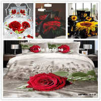 Twill Woven Comforter Set 6 PCS Free Shipping 3D FLOWER printed Fitted sheet (Rubber around) bed linen 3d bedding set