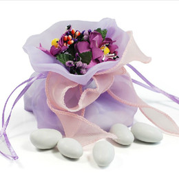 Wholesale Beautiful Organza Wedding Candy Pouch With Artificial Flower Gift Bag Wedding Favors Light Purple